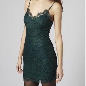 Topshop dark green eyelash lace dress